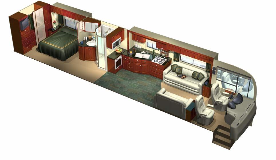 3D Motorhome Cutaway Interior.
